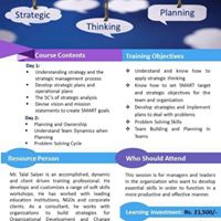 Workshop on &quotActivity based Strategic Thinking and Planning&quot