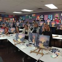 Happy Little Bob Ross Painters with Kathleen