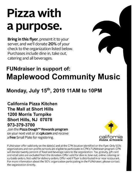 Fundraiser At California Pizza Kitchen Short Hills