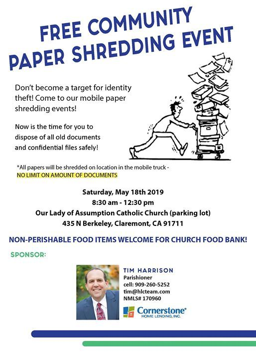 Free Community Paper Shredding Event at HLC Team at Cornerstone Home