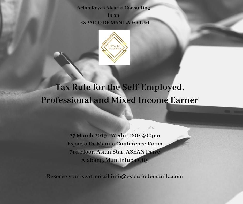 FORUM   Tax Rule for the Self-Employed, Professional & Mixed