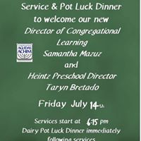 Family Services and Potluck Dinner to Welcome New Educators