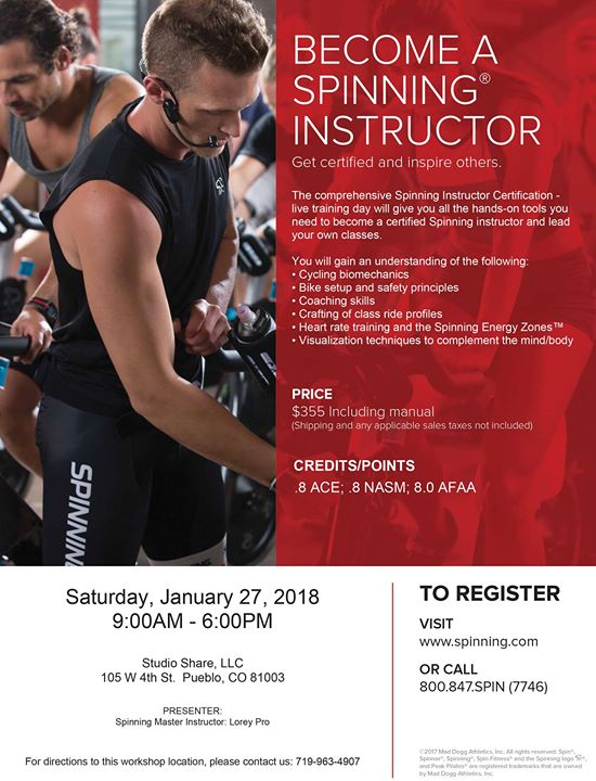 Spin Instructor Certification at Studio Share, LLC, Pueblo