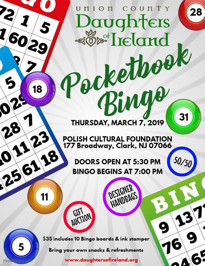 Pocketbook Bingo presented by Daughters of Ireland