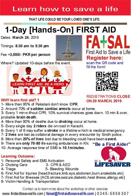 First Aid with CPR and AED Practical in Lahore on March 24