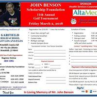 John Benson Scholarship Foundation 11th Annual Golf Tournament