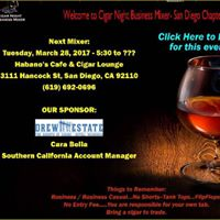San Diego - Cigar Night Business Mixer Group Event - March 28th