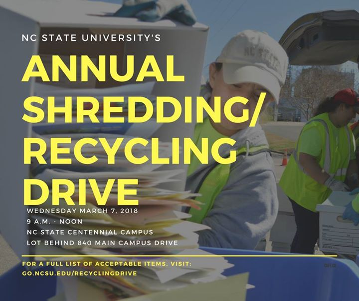Annual Shredding/Recycling Drive at 840 Main Campus Dr