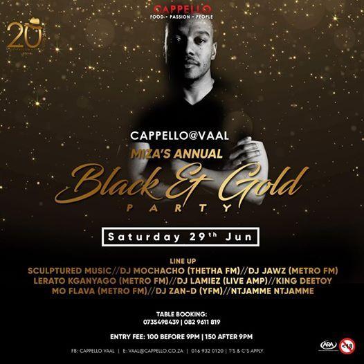 Annual Black and Gold Party at Capello Vanderbijlpark River