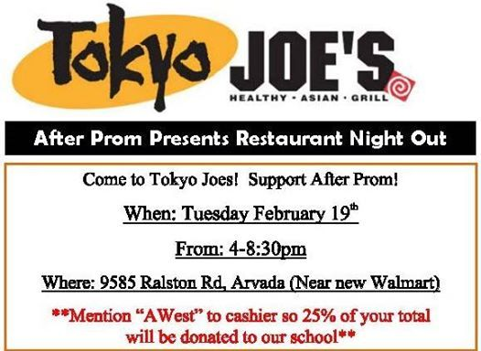 Tokyo Joes AWest After Prom Fundraiser