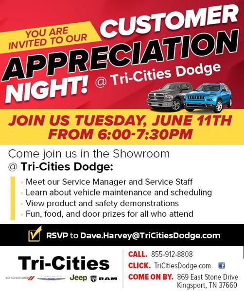 Tri Cities Dodge >> Customer Appreciation Night At Tri Cities Chrysler Dodge