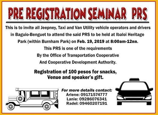 Pre-Registration for Baguio Transport Groups