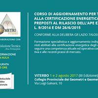 Aggiornamento per Tecnici abilitati a certificazione energetica