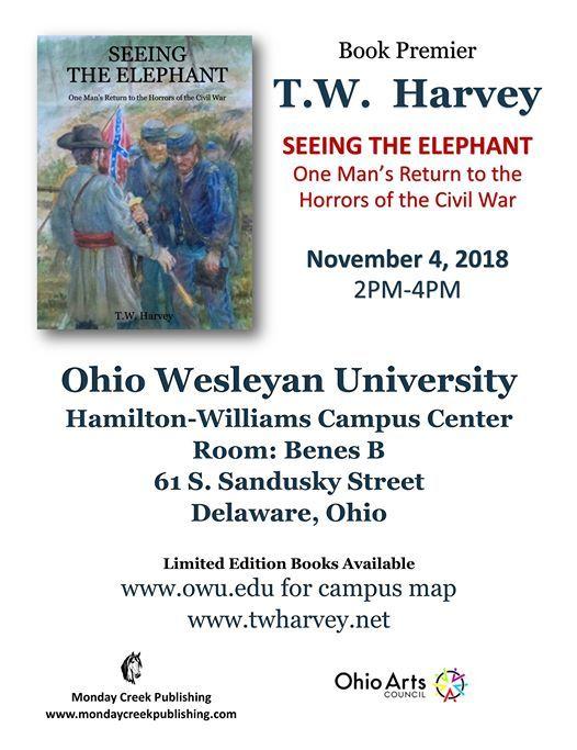 Book Premier Seeing The Elephant Civil War Novel At Ohio Wesleyan