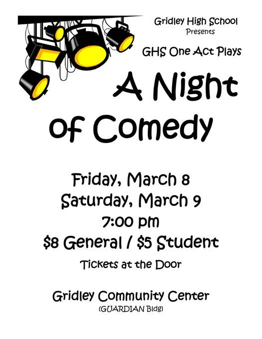 GHS One Act Plays: A Night of Comedy at clockFriday, March 8, 2019
