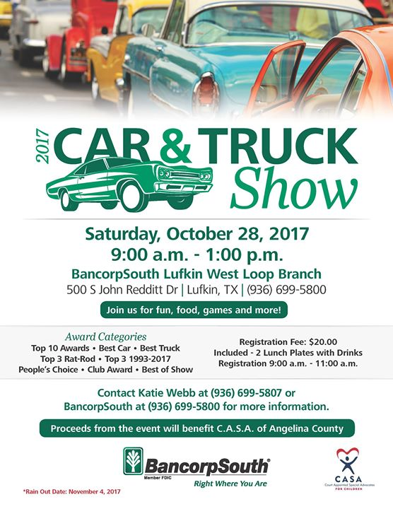 BancorpSouth Car Truck Show At S John Redditt Dr Lufkin - Fun car show award categories