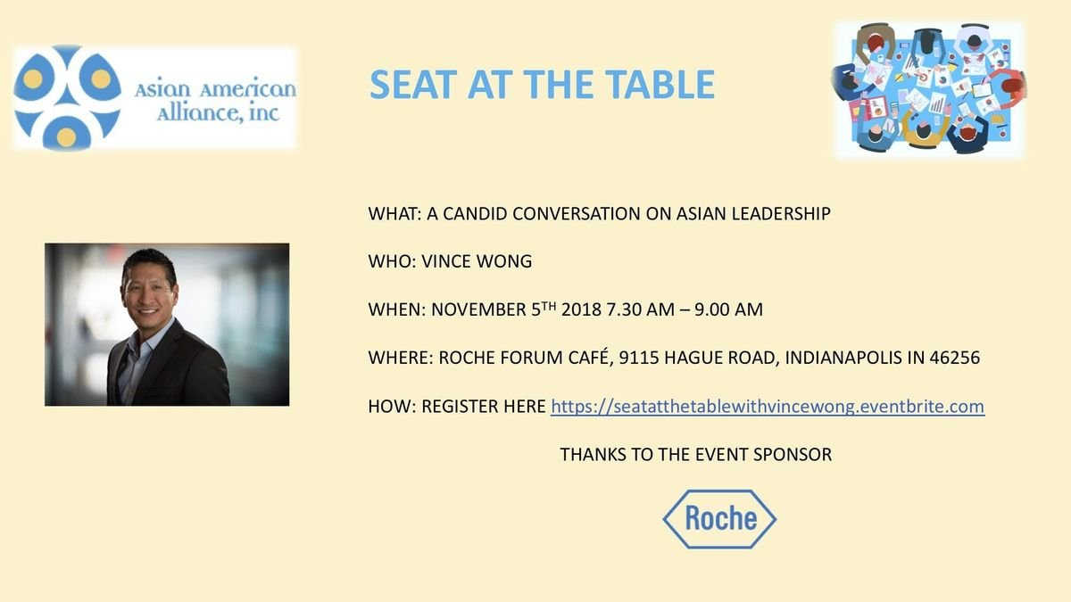 Roche Indianapolis Campus Map.Seat At The Table Vince Wong At Roche Indianapolis Campus Forum