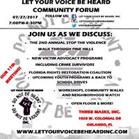 Let Your Voice Be Heard Community Forum (11th Meeting) 072717
