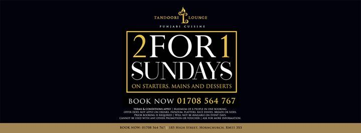 2 for 1 Sundays at Tandoori Lounge