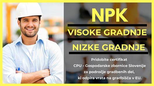 Pridobite certifikat Npk Visoke gradnje  Nizke gradnje
