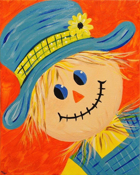 """Kids Painting Party! """"Happy Scarecrow"""" Sat 10/28/17 1pm"""