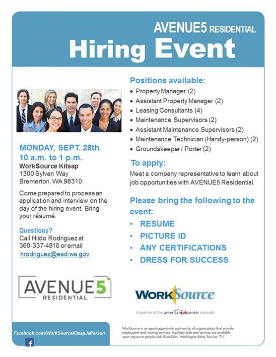 Property Management Services Hiring Event Avenue5 Residential at ...