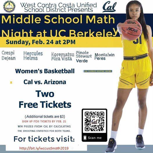 Wccusd Cal Womens Basketball Middle School Math Night