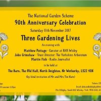 Three Gardening Lives talk and supper