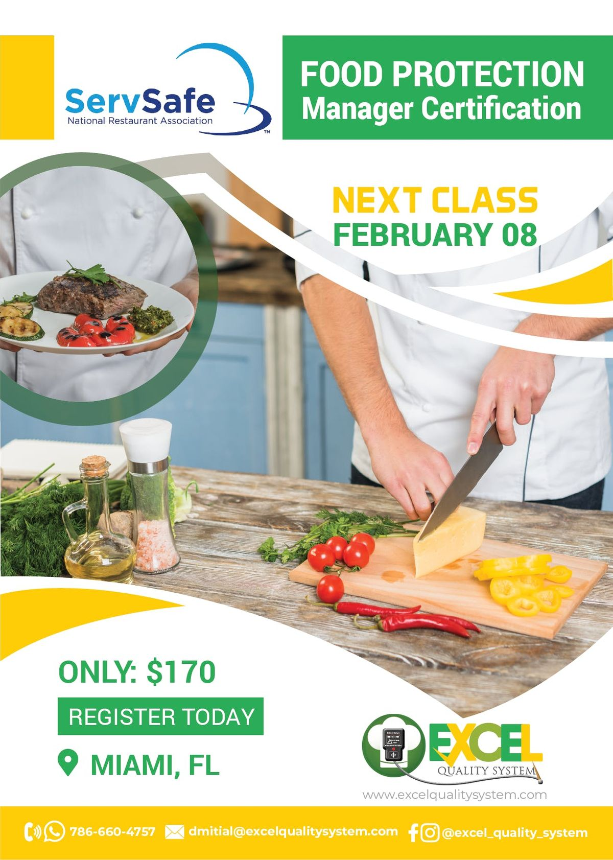 Food Managers Certification (ServSafe) Class & Exam.