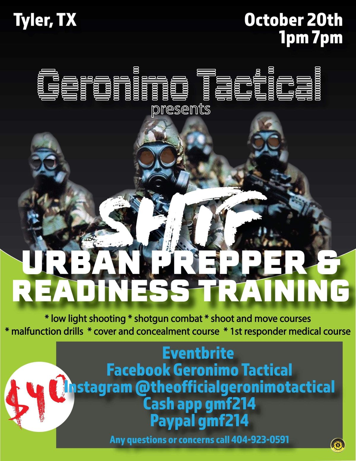 Geronimo Tactical Presents SHTF Urban Prepper And Readiness Training