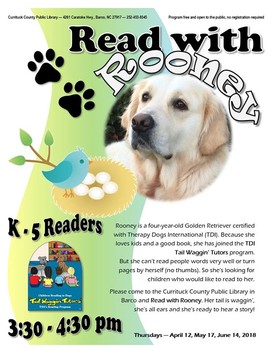 Read with Rooney (Tail Waggin Tutors) at Currituck County