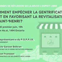 Soire de rflexion  La gentrification dans Saint-Henri