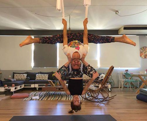 Partner Aerial Yoga with Eva and John
