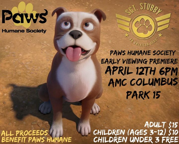 Paws Humane Sgt Stubby Early Premiere Night At Amc Columbus Park