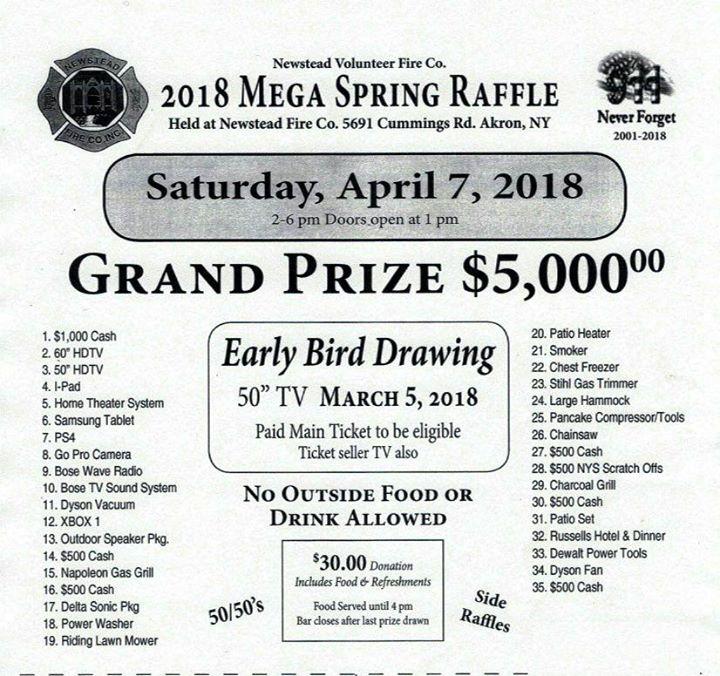 2018 Mega Raffle at Newstead Fire Company, Akron