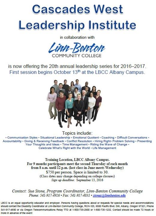 Linn Benton Community College Campus Map.Cascades West Leadership Institute At Business And Employer Services