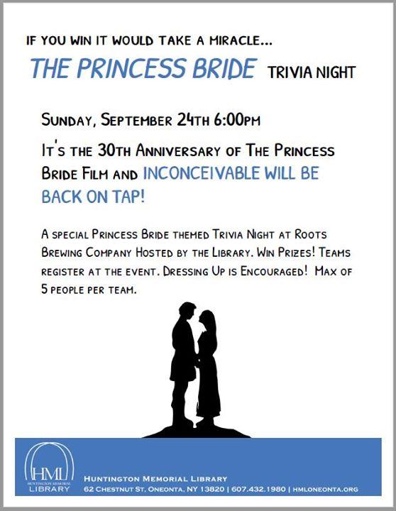 the princess bride trivia night at roots brewing company oneonta