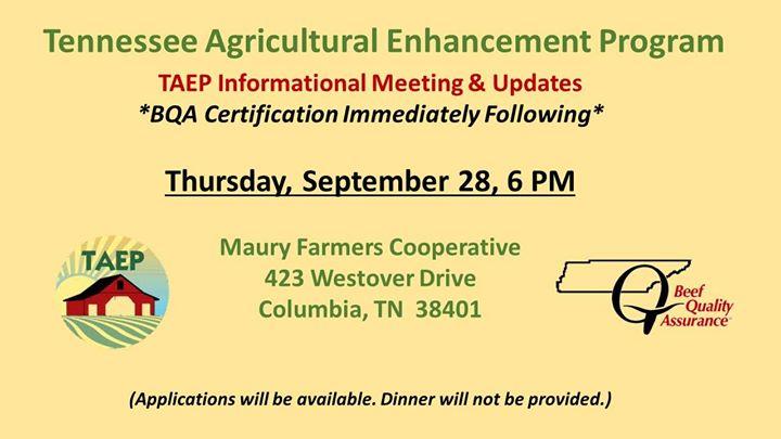TAEP Meeting & BQA Certification at Maury Farmers Cooperative, Columbia