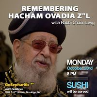 Class with Rabbi Levy Remembering Hacham Ovadia z&quotl