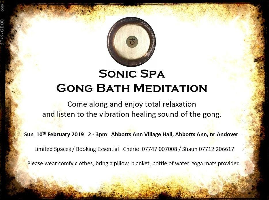 Sonic Spa Gong Bath Meditation - 10th Feb 2019