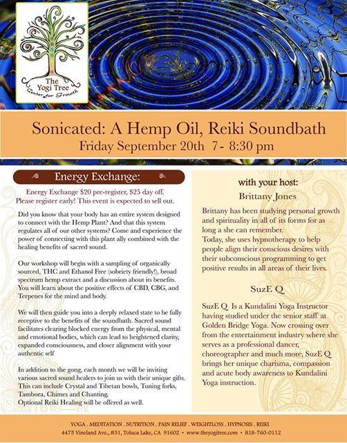 Sonicated: A Hemp Oil Reiki Soundbath at The Yogis Tree Center For
