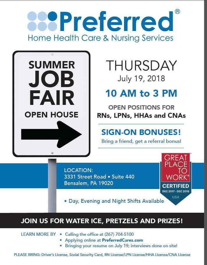 Nursing Job Fair At 3331 Street Road Bensalem