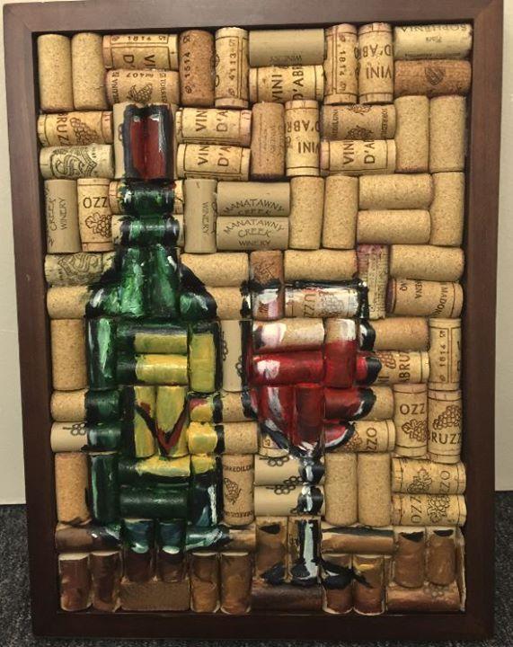 Wine Cork Painting, Wine Glass, Wine Bottle Painting