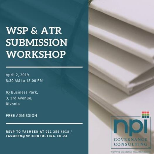 NPI Governance Consulting WSP & ATR Submission Workshop