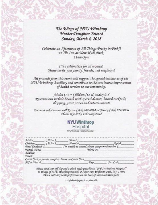 Wings of NYU Winthrop Annual Mother Daughter Brunch at The