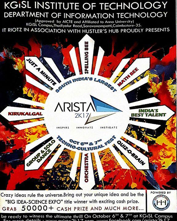 ARISTA 2K17 for School Students at KGiSL Institute of
