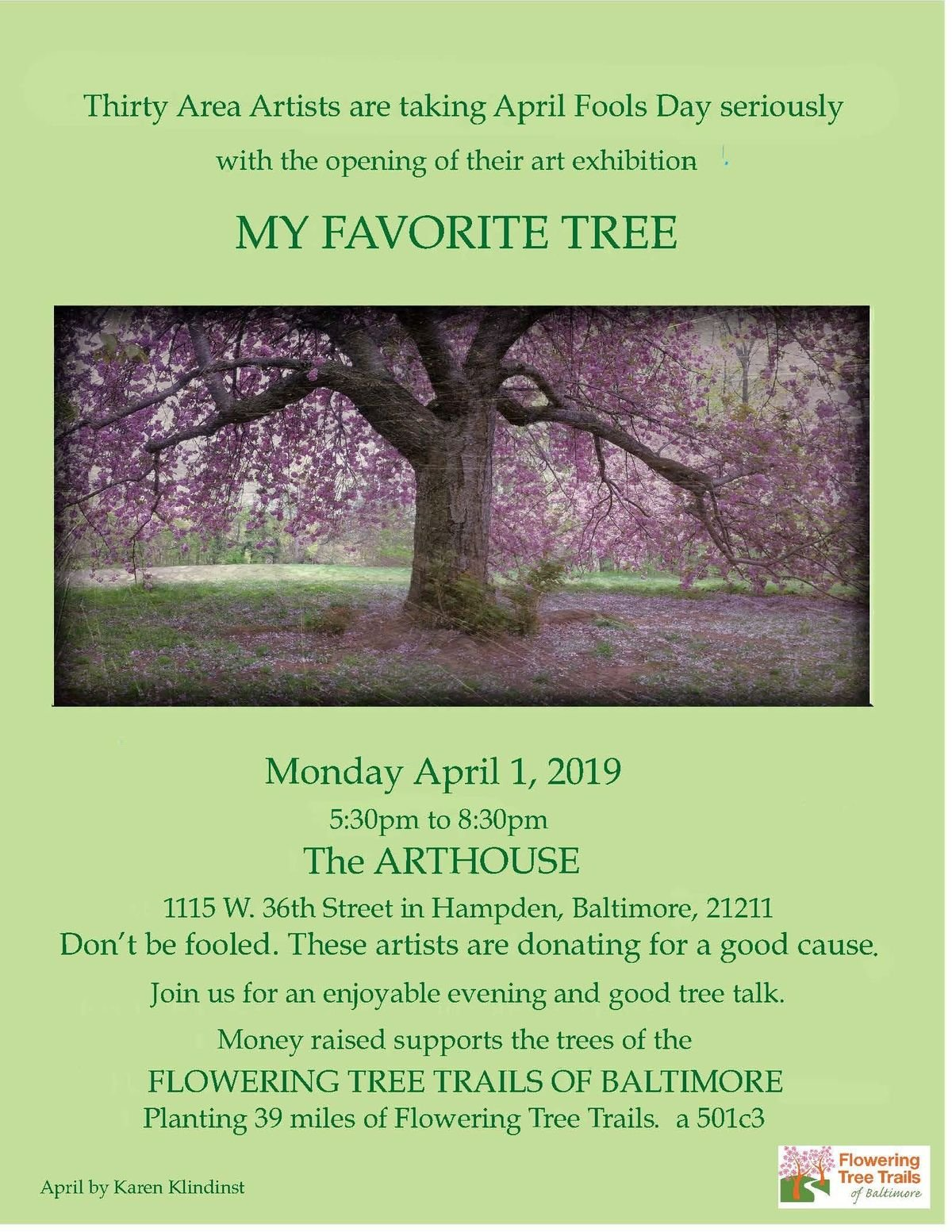 My Favorite Tree Art Show Opening and Fundraiser