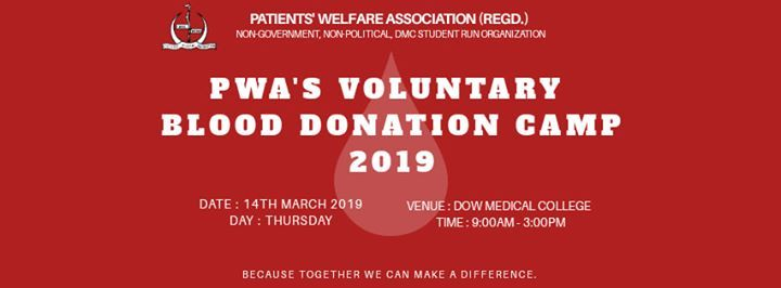 PWAs Voluntary Blood Donation Camp 2019 at Dow Medical