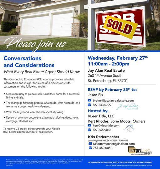 Free Real Estate CE Klass- Conversation & Consideration! at