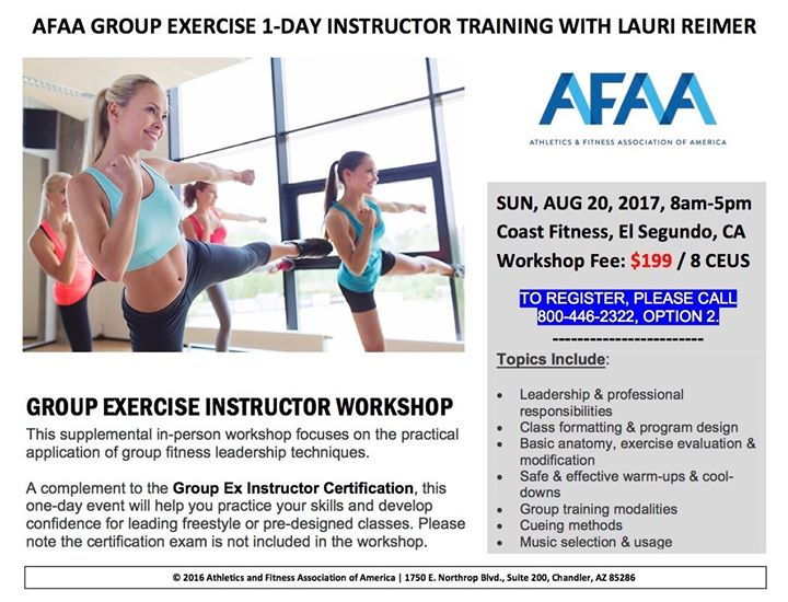 afaa group ex 1-day instructor training in l a with lauri reimer at ...
